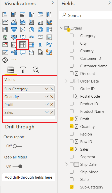 How to create table in power bi dashboard