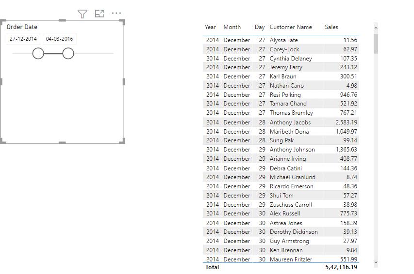 Power bi date filter slider