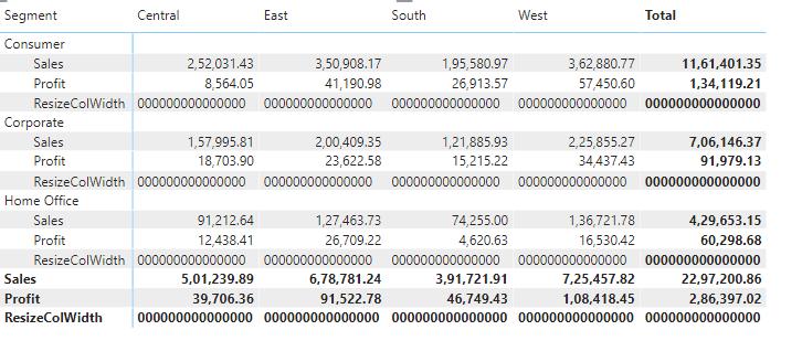 Power bi matrix column width