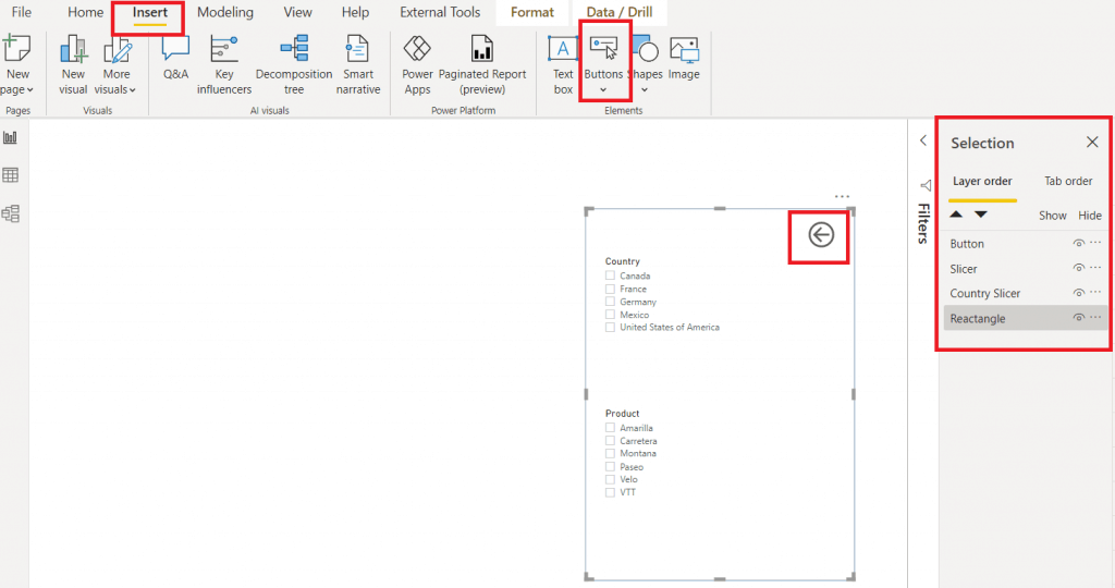 Microsoft power bi slicer panel