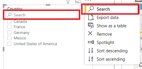 power bi slicer search example