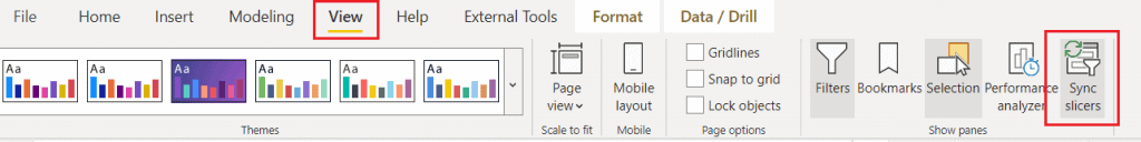 power bi slicer panel for all pages