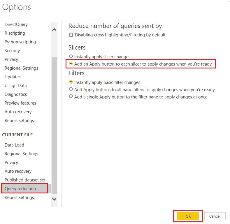 Add apply button on Power BI Slicer