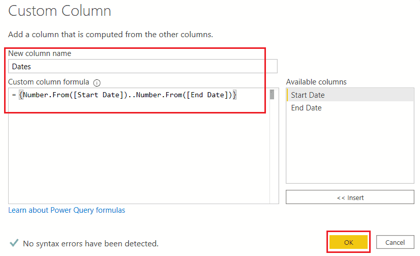 Create Date Table in Power BI using M query