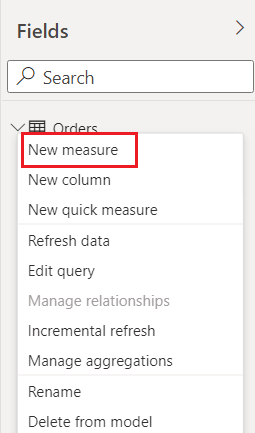 Create New Measure in power BI