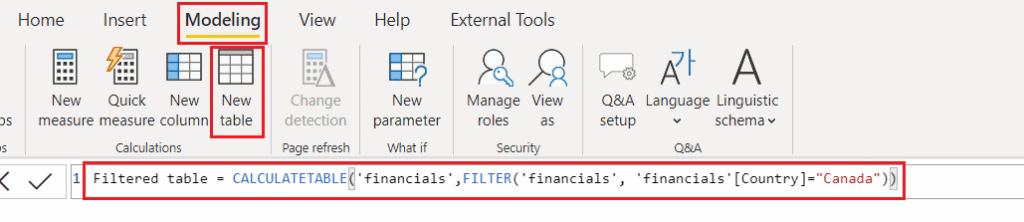 Create table from another table using filter