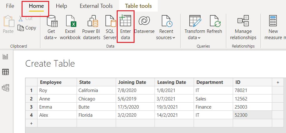Power BI Create table
