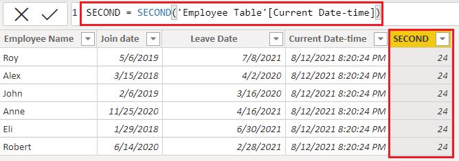 DAX Date-second function in Power BI