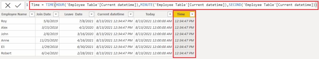 Example DAX date function in Power BI