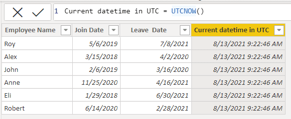 Example of Date function in Power BI