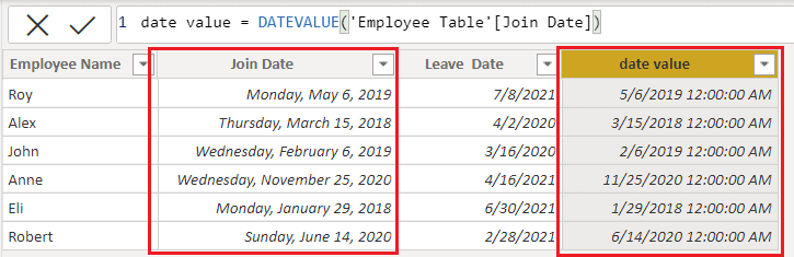 Date function using DAX in Power BI