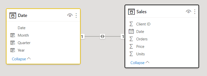 Date table relationships on Power BI