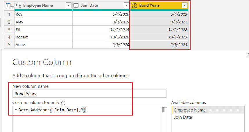 Date.AddYears() function using M Query