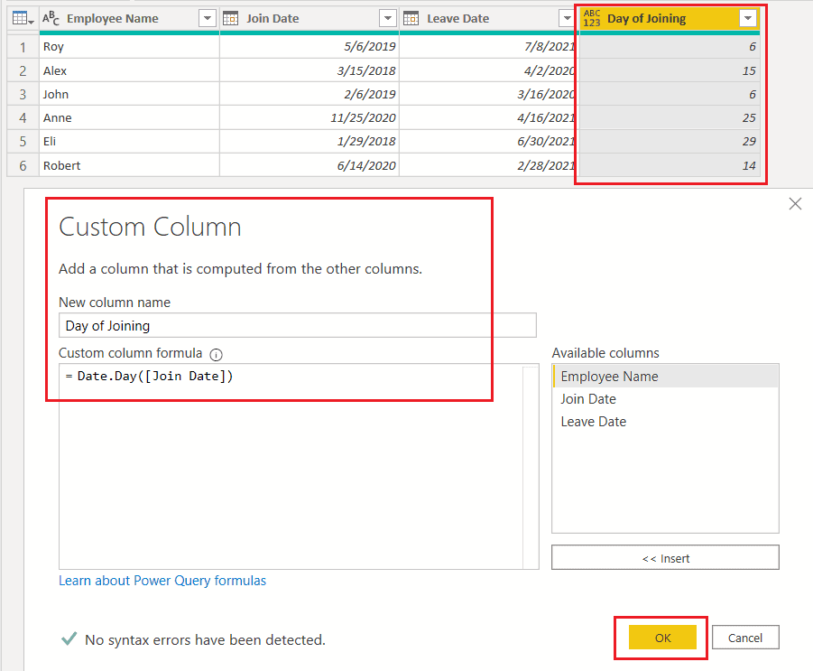 Date.Days() function using M query