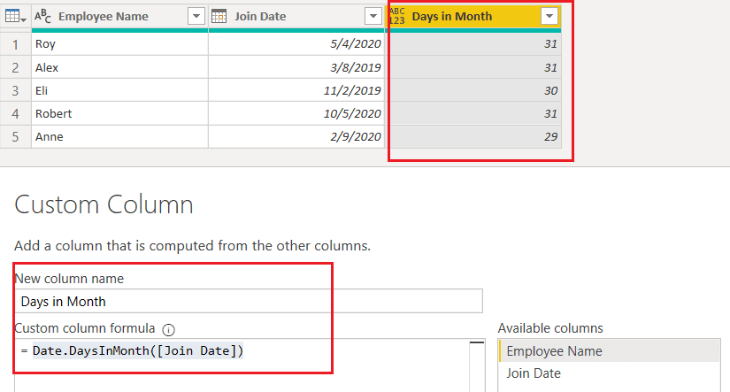 Date.DaysInMonth() function using M Query