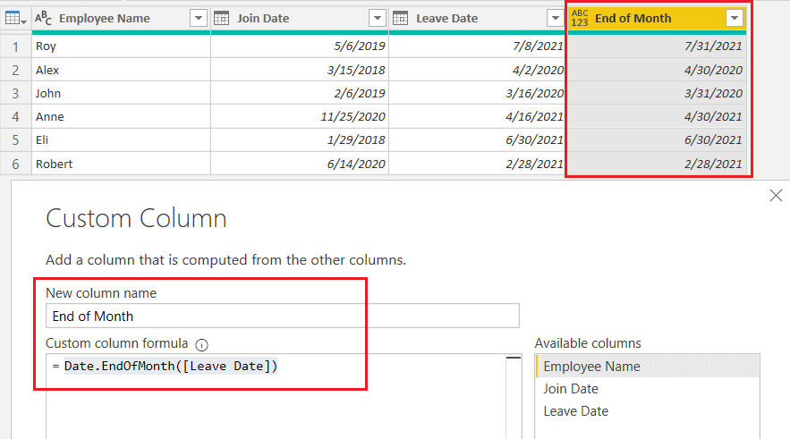 Date.EndOfMonth() function using M Query