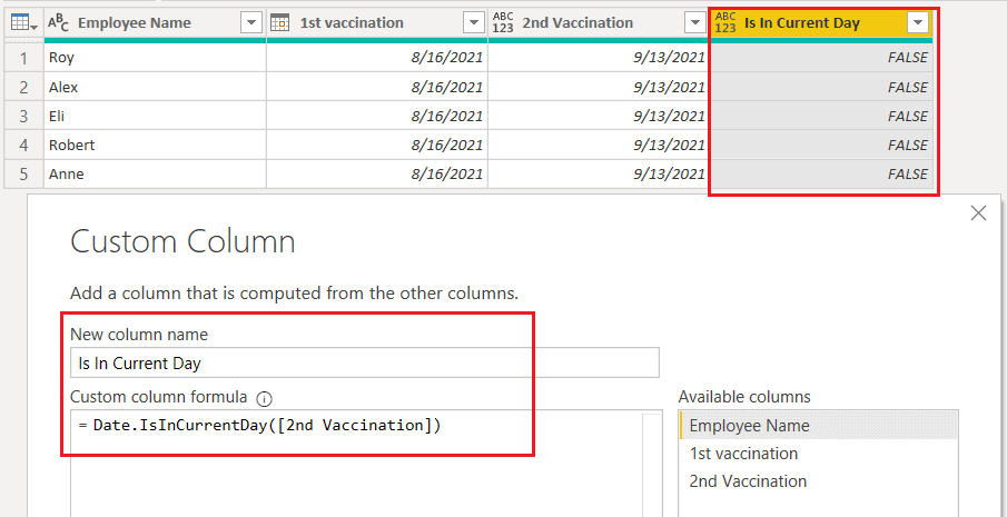 Date.IsInCurrent() function using M query