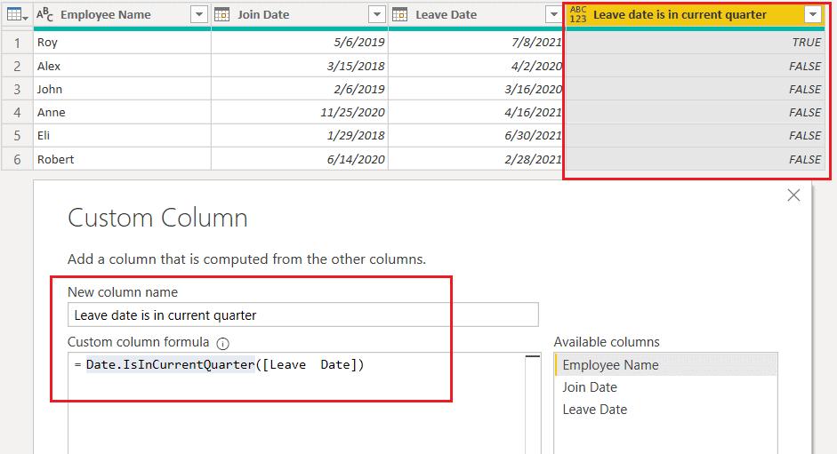 Date.IsInCurrentQuarter() function using M