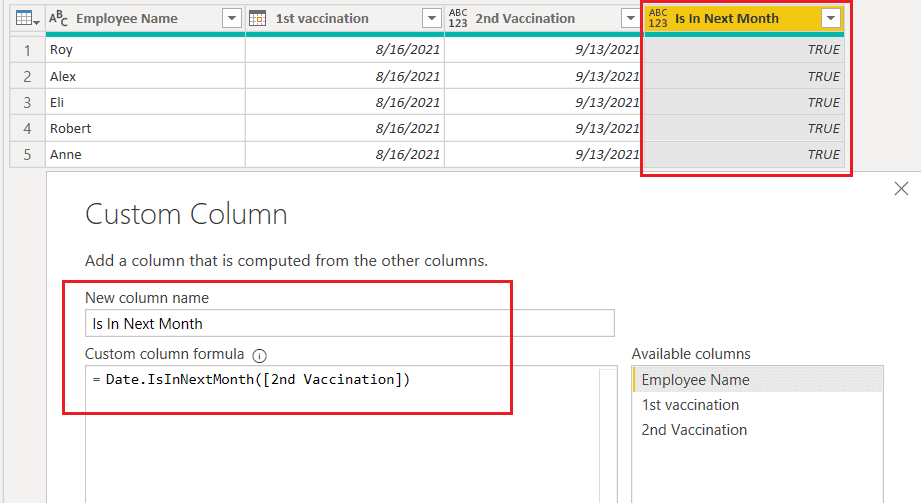 Date.IsInNextMonth() function using M query