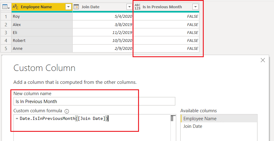 Date.IsInPreviousMonth() function using M