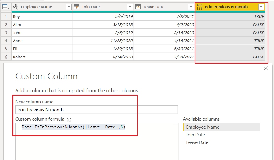 Date.IsInPreviousNMonths() function using M-query