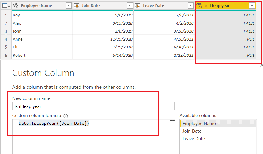 Date.IsLeapYear() function using M query.png
