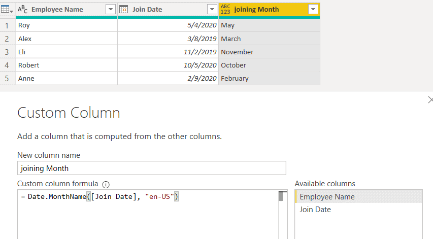 Date.MonthName() function using M