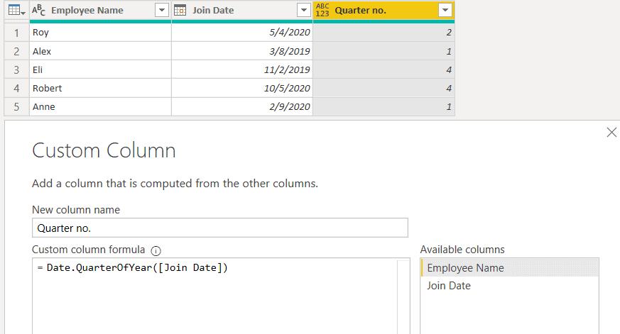 Date.QuarterOfYear() function using M