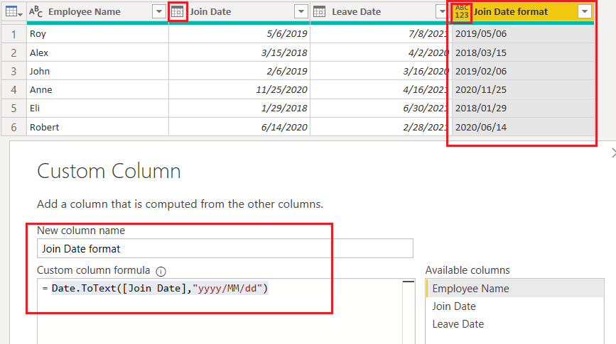 Date.ToText() function using M