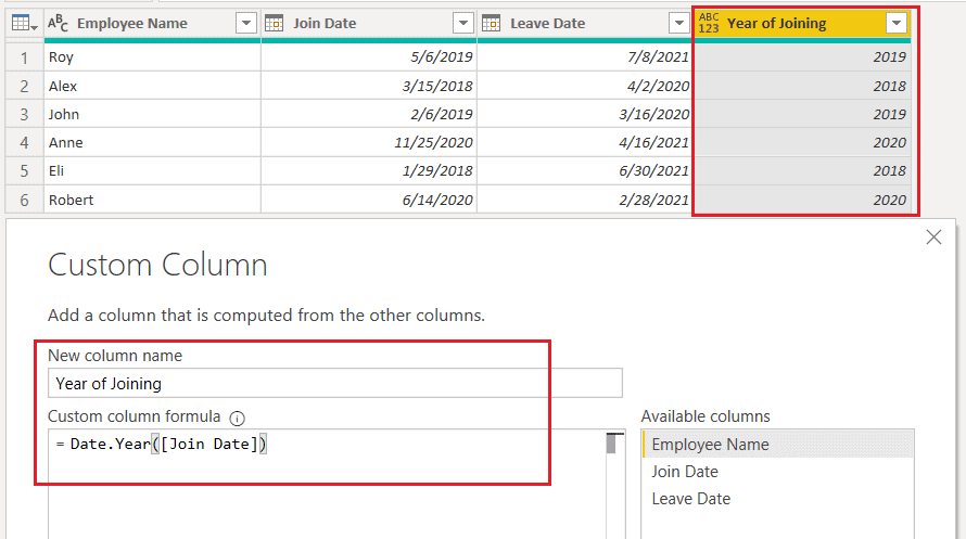 Date.Year() function using M query