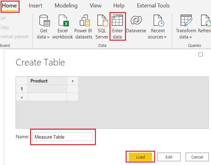 Measure table on Power BI