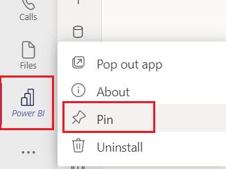 Pin the Power BI app to the team