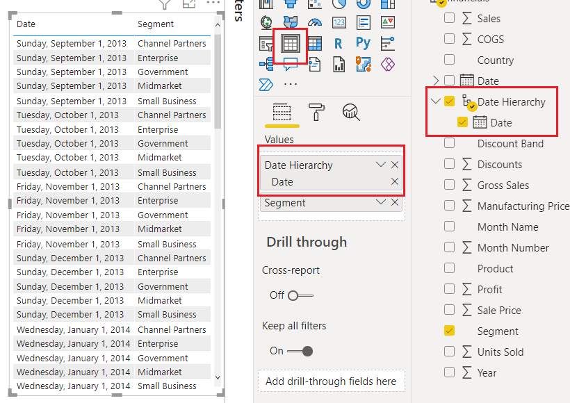 Power BI Create date hierarchy from date