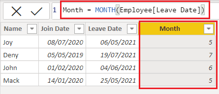 Example of DAX date function in Power BI