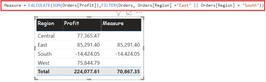 power bi measure filter with multiple values