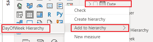 Power BI create date hierarchy with week