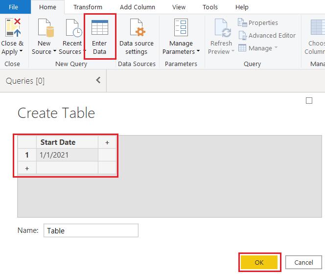 Power BI date table m code
