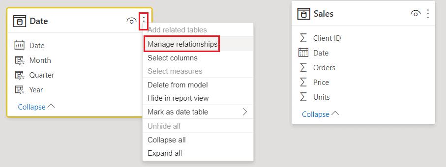Power BI date table relationships