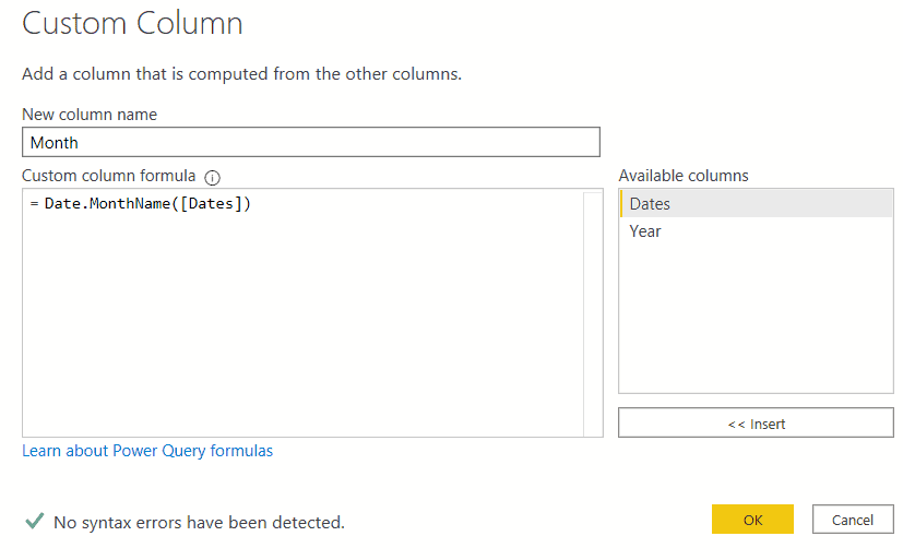 Power BI Create date table using M Query