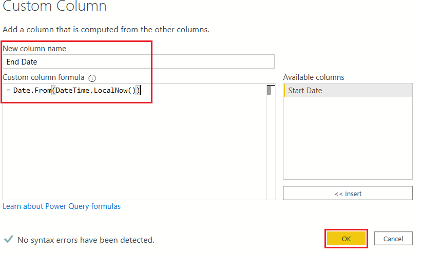 Power BI Create Date table using M code
