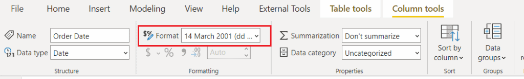How to change the power bi date format