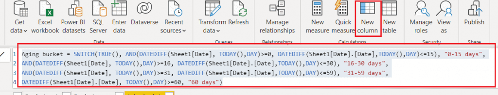 Use the power bi switch function to group by date range