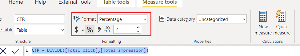 power bi measure divide one column by another