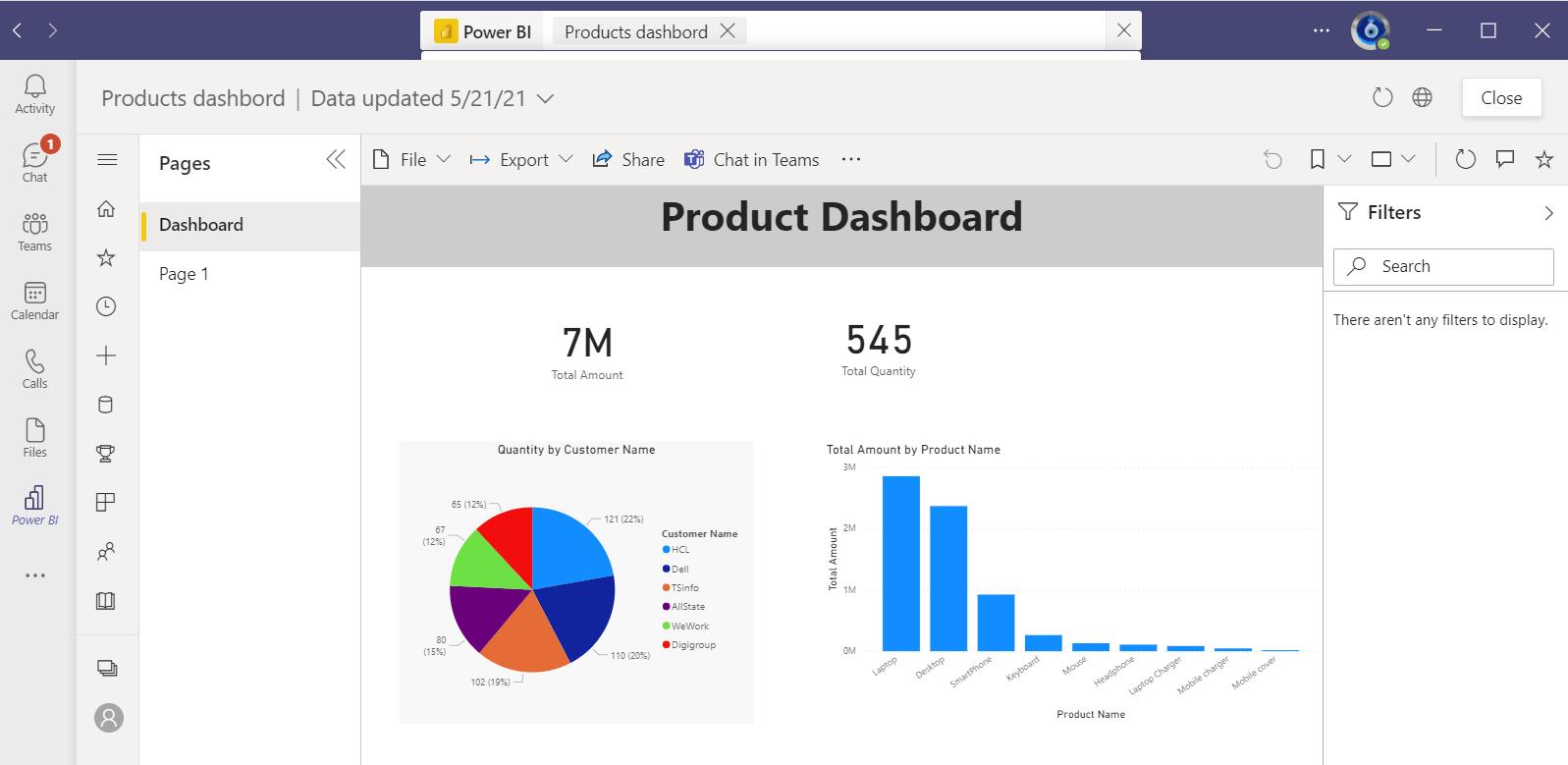 Search Power BI content in Microsoft team