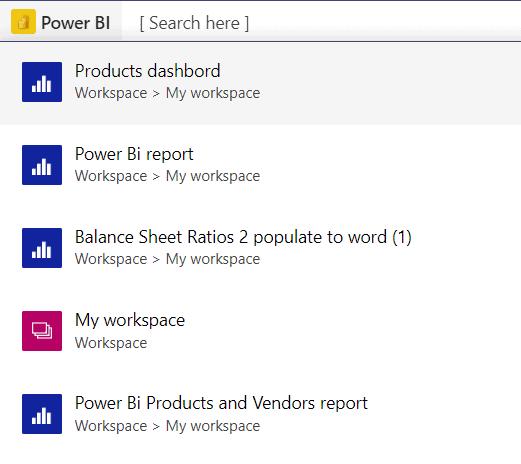 Search Power BI content in team 1