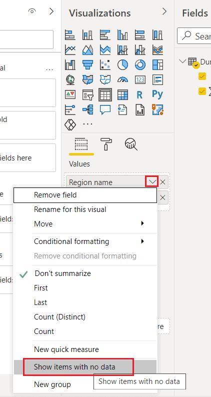 power bi show items with no data works