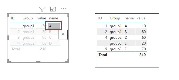 Power bi table visualization filter