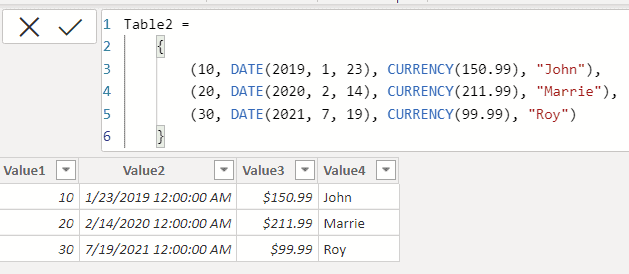 Table constructor in Power BI
