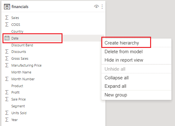 create date hierarchy from date
