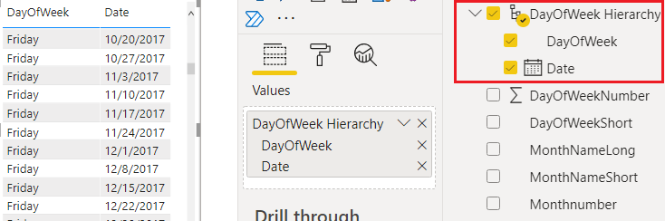create date hierarchy with week on Power BI
